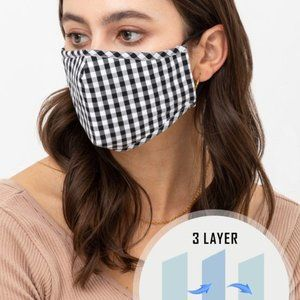 Gingham Check Reusable Washable Face Mask